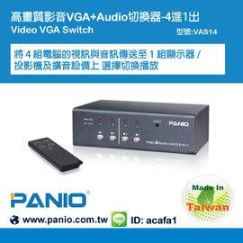 ~ #10020 PANIO國瑭資訊~VAS14 4埠螢幕VGA影音切換器 4組VGA A