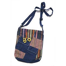 手染棉布包— 純棉布向日葵花朵 側背方包 藍色~ 民族~