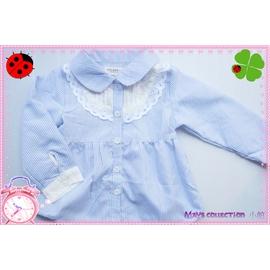 ~~May s collection ~~ 花領藍條紋蕾絲襯衫上衣~2色~