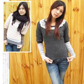 日系兔毛絨蕾絲燈籠袖針織上衣.流行女裝.針織衫 C110-10371