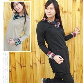 日系V領前插袋格紋假兩件襯衫棉T C110-1261