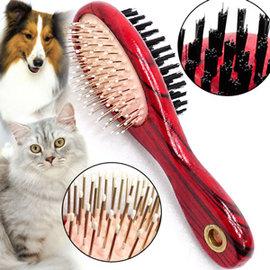 寵物雙面兩用木製梳C99-0083犬貓潔毛針梳毛刷寵物美容梳子寵物用圓梳毛器長毛貓順毛除毛按摩梳長毛狗脫毛理毛去毛梳推薦