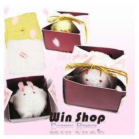 【WIN SHOP】☆含運送到家☆和風日式大福毛巾禮盒/動物造型毛巾/收納小毛巾/方巾/手帕,兔子小雞造型超可愛,最佳贈禮品