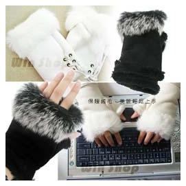【winshop】兔毛半指手套/保暖手套/半指袖套/麂皮絨手套,章子怡、戀愛魔髮師COSPLAY款