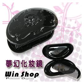 【winshop】黑色薔薇小魔鏡(化妝鏡)化妝盒/黑色小化妝鏡(盒)/內附梳子可方便整理儀容/隨身便利攜帶型
