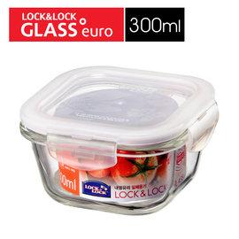 ~超 ~Lock  Lock 樂扣樂扣 正方形耐熱玻璃兩用保鮮盒 白色蓋 ^(300ml