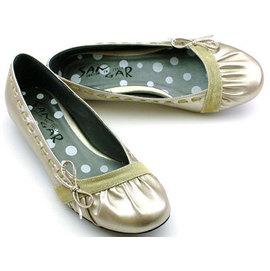 ~安琪拉~大 女鞋服飾~828 ViVi雜誌抓皺蝴蝶低跟娃娃鞋~香檳色款