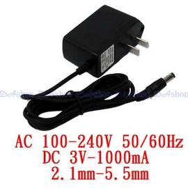 電子式 AC 110~240V to DC 3V 1000mA 內徑2.1 外徑5.5 變壓器(19-007)