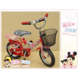 麗嬰兒童玩具館~台製精品指定款-12吋鐵內胎充氣腳踏車有輔助輪.抓地力強