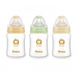 台灣【Simba 小獅王】超輕鑽寬口雙凹玻璃小奶瓶150ml