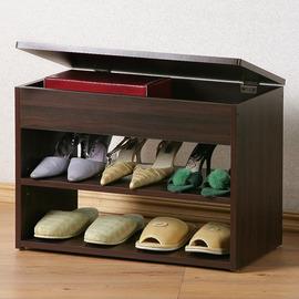 ~Homelike~雅緻掀蓋式穿鞋椅 鞋櫃 置物櫃 收納櫃 邊櫃 玄關櫃 ^(胡桃色^)