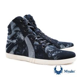 Mirako 真皮高筒靴型鞋98232 Canvas Pattern,深藍灰色