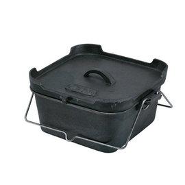 【日本 LOGOS】NEW!!! 免開鍋 方型荷蘭鍋(L) 鍋具.黑鍋.鑄鐵鍋.支架.網架.燈具.露營 / 81062220