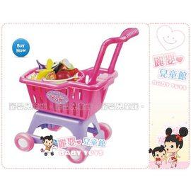 麗嬰兒童玩具館~baby扮家家酒-可摺疊收納附提籃的超市購物車加強底座更平穩