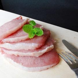 ~百豐傳牧場良心豬~無瘦肉精 ~~里肌肉切片^(8mm~ 烤肉肉片^):300g~通過5大