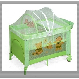 Baby ACE豪華型雙層遊戲床---綠色,再贈:黃色小鴨隨手包濕巾*1包