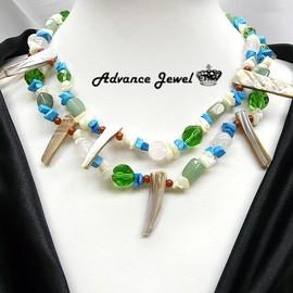 ~寶峻晶石館~幸福季節 華麗多層次貝殼 半寶石串珠項鍊 頸鍊SP~549兩條式