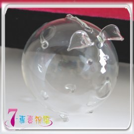 7-專賣祝福-直徑8.5公分存錢透明玻璃豬 dav8889-bank-f