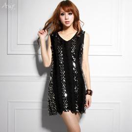 ASIF 禮服水滴亮片Bling高級時尚洋裝,獨家難得設計,多達幾百銀色黑邊亮片