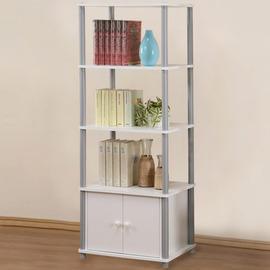 ~Homelike~粉彩五層雙門置物櫃 收納櫃 系統櫃 書櫃 置物架 ^(純白色^)