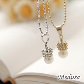 ~Medusa~珍珠皇冠貴族氣質小項鍊^(銀^)