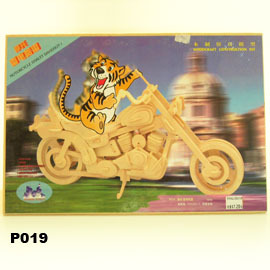 3 D 立體 D I Y 木 製   P019 雷電哈雷摩托車
