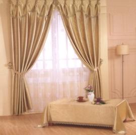 【浪漫滿屋】寬200CM x 高170CM半腰(二用穿掛式)高級(雙層)壓花遮光窗簾-金黃色-LF01GD170