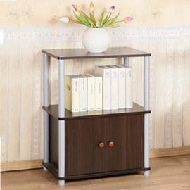 ~Homelike~粉彩雙門三層置物櫃 收納櫃 書櫃 ^(胡桃色^)