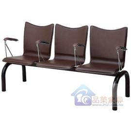 P437~21 二人座扶手排椅^(咖啡^)^(仿牛皮^)