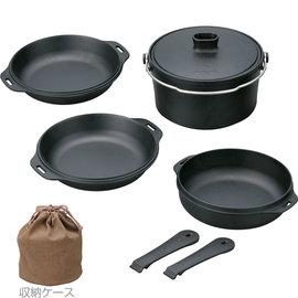 【日本 Snow Peak】燕三條 極薄輕量 鑄鐵鍋組-四件組(含收納外袋)(Cast Iron DUO cook set) 荷蘭鍋.鑄鐵鍋具 CS-550