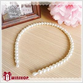 【winshop】A1461 韓版氣質小公主珍珠髮箍~珍珠白~雜誌款大推薦