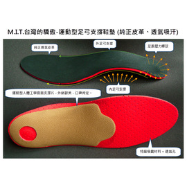 MIT - 台灣的驕傲 - 真皮運動型足弓鞋墊 (運動型足弓墊) (純正皮革 透氣 吸汗 抑制腳臭) 適合愛好運動的人,於運動時,感受足弓支撐 與 人體工學所帶來的舒適感,幫助跑步打球足底壓力平衡。