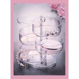 歐風時尚 四層旋轉透明收納盒/珠寶盒~高級壓克力材質,透亮精緻,台灣外銷歐美精品!