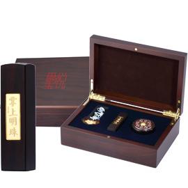 黃金 金飾彌月印章禮盒-掌上明珠黑檀木