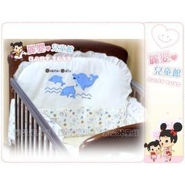 麗嬰兒童玩具館~超恬靜嬰兒寢具-專櫃小海豚精疏棉寢具四件組--適用各式小床/搖籃