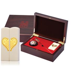 黃金 金飾結婚双囍印章禮盒-雙囍珍珠牙(髮簪)