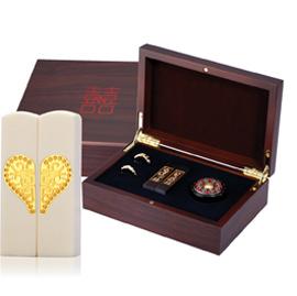 黃金 金飾結婚双囍印章禮盒-雙囍珍珠牙(對戒)