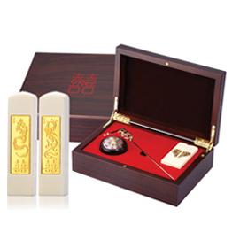 黃金 金飾結婚龍鳳印章禮盒-龍鳳珍珠牙(髮簪)