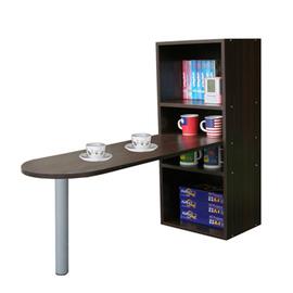 【KIC】桌面50公分(高)120公分(長)[2+2格](蛋頭形)桌櫃型-餐桌-W403DW+TB037RL矮腳深胡桃木色