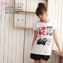 TinyHouse~*小的舖子*超值品《THN-8038》韓製CODE˙開心笑女孩相片造型長版上衣˙三色