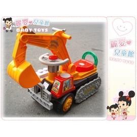 麗嬰兒童玩具館~台製兒童騎乘超大型挖土機-屨帶款.可當轉向.有方向盤和喇叭