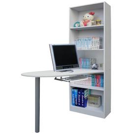挑高5格(蛋頭形)書櫃型-書桌/電腦桌(附鍵盤抽)-素雅白色W605WH+TB120RD-H高腳