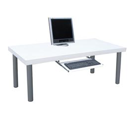 厚型桌面^(4公分厚度^)書桌 電腦桌 和室桌^(含鍵盤抽^)素雅白色~A16~1WHL