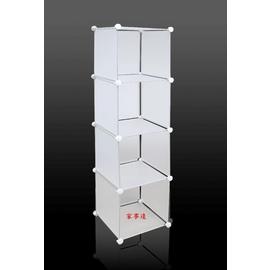 家事達   OGEE 多 四層四格塑膠 櫃   40.5X37X150CM 白