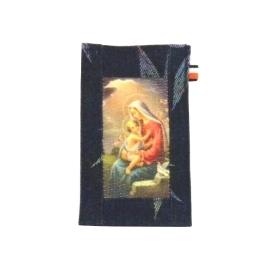 【CHINNEX】手工製作 ◎ 丹寧布刺繡手機吊袋 ◎ 可裝一般手機、眼鏡、各式卡片~~【§ 聖母瑪利亞 §】