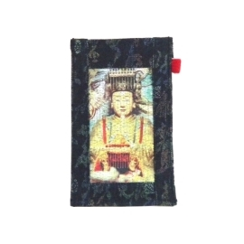 【CHINNEX】手工製作 ◎ 丹寧布刺繡手機吊袋 ◎ 可裝一般手機、眼鏡、各式卡片~~【§ 媽祖 §】