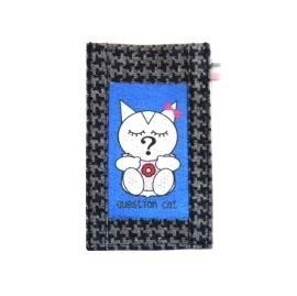 【CHINNEX】手工製作 ◎ 丹寧布刺繡手機吊袋 ◎ 可裝一般手機、眼鏡、各式卡片~~【可愛@問題貓*藍底】