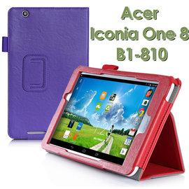 【手托、帶筆插】Acer Iconia One 8 B1-810 專用平板牛皮紋皮套/書本式翻頁保護套/立架展示斜立