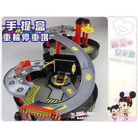 麗嬰兒童玩具館~舒馬克賽車軌道-手提盒車輪停車場.雙層立體汽車停車場-方便收納