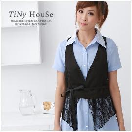 TiNyHouse小的舖子~P2B~229~ 花蕾絲拼接綁帶 西裝式背心•黑色